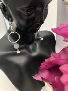 Sterling Silver Grey Gemstone with Star Earrings