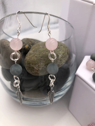 Beautiful Rose Quartz and Grey Matte Stone Earrings