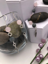 Load image into Gallery viewer, Rose Quartz and Grey Matte Gemstone Necklace