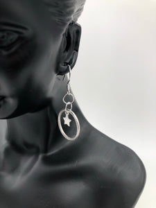 Sterling Silver Hoops with Stars Earrings