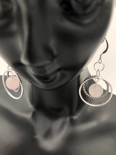 Rose Quartz Gemstone Sterling Silver Hoop Earrings