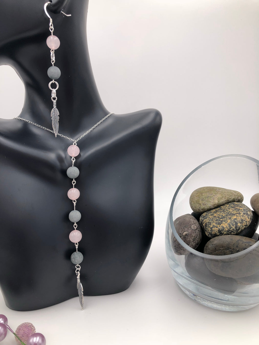 Rose Quartz and Grey Matte Gemstone Necklace