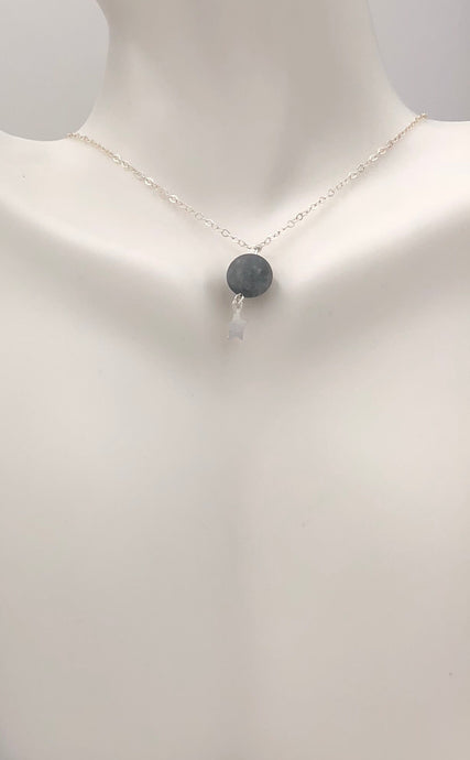 Matte Grey Gemstone Sterling Silver Choker