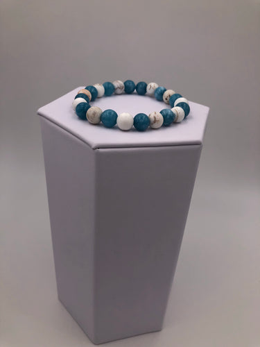 Aqua and White with Grey lines Gemstone Stretch Bracelet