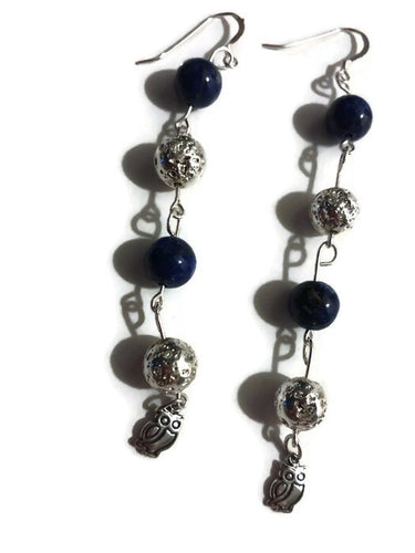 Beautiful Elegant Silver Lava Bead with Blue Elegant Pearls