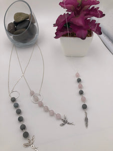 Sterling Silver Rose Quartz Muse Lariat