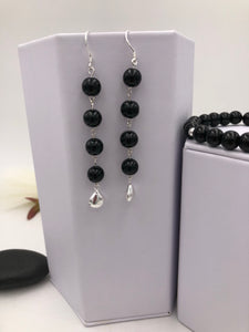 Black Glass Pearl Earrings