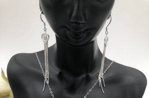 Beautiful Box and Bead Chain Tassel Earrings