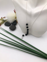 Load image into Gallery viewer, Black Glass Beaded Sterling Silver Lariat