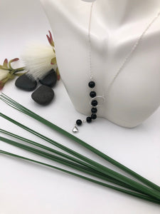 Black Glass Beaded Sterling Silver Lariat