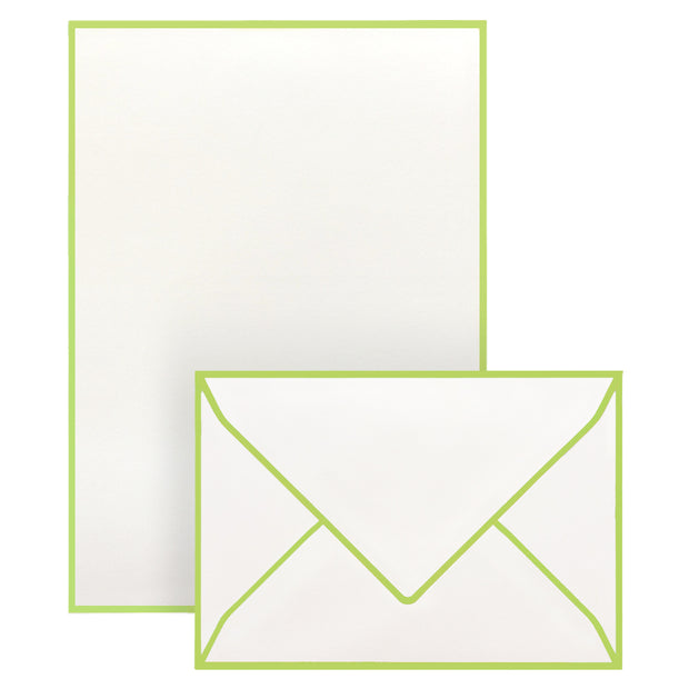 Correspondence Set Lime Green Border (10 pcs)