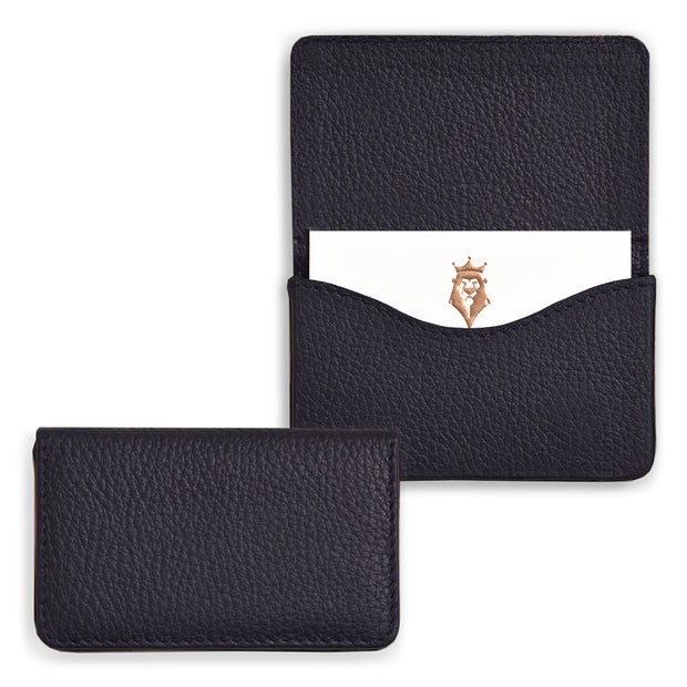 Bohemia Paper Leather Business Card Case Navy Blue