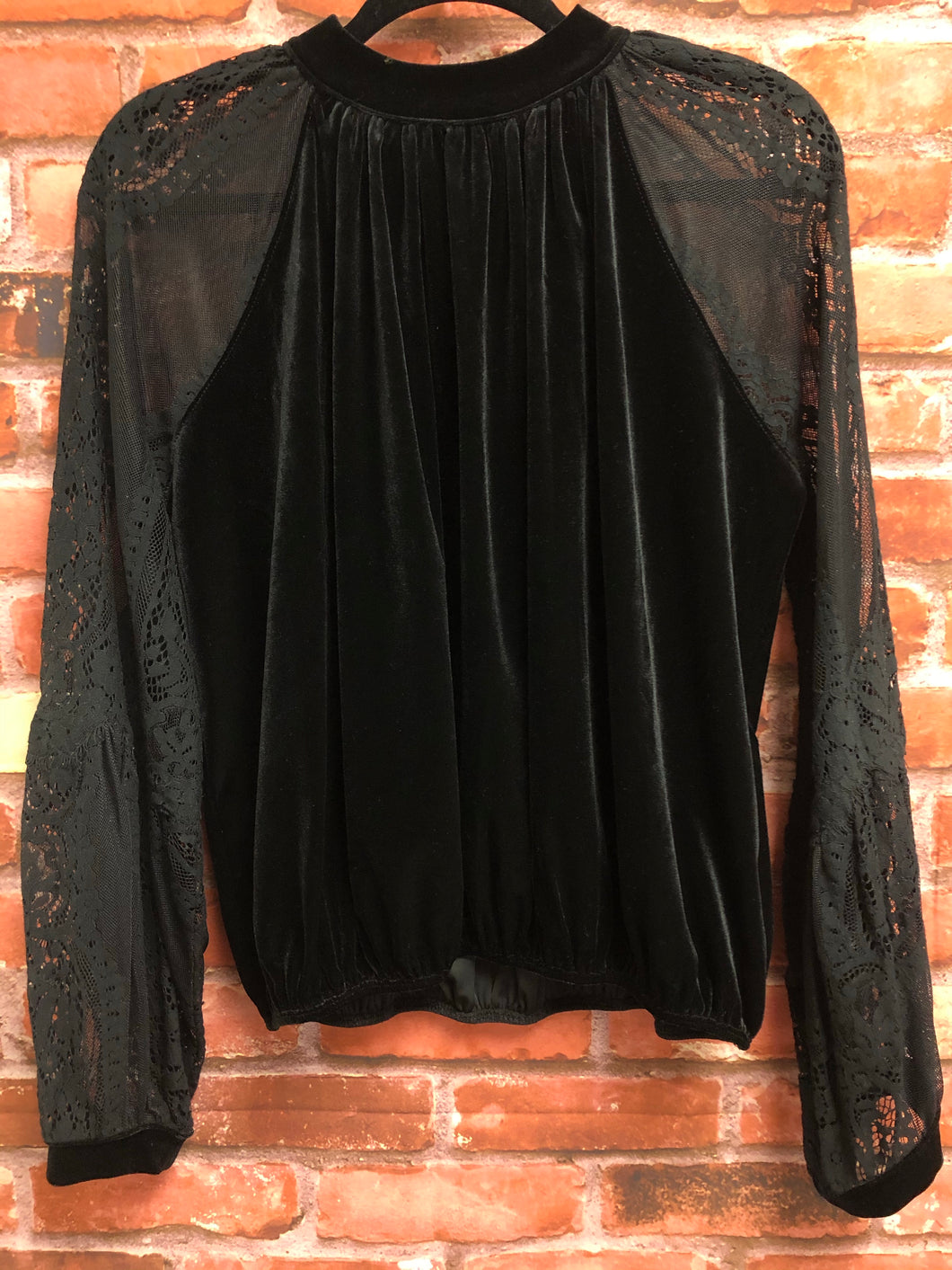 Free People Black Suede Lace longsleeve