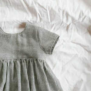 Navy Stripe Dress + Blouse