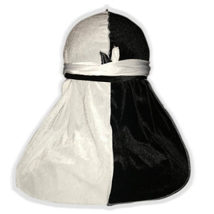 Black and White Velvet Durag