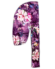 Load image into Gallery viewer, Purple Floral Velvet Durag