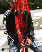 Load image into Gallery viewer, Red Velvet Floral Durag