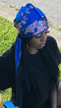 Load image into Gallery viewer, Blue Velvet Floral Durag