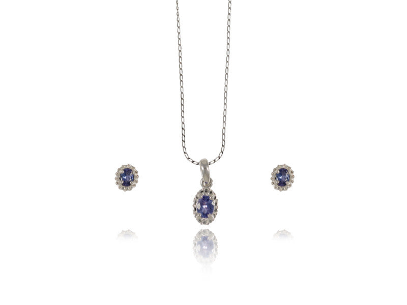 Maslovjewels Oval Tanzanite Earring And Pendant Set In White Gold Fancy Frame Maslov Jewels Welcome