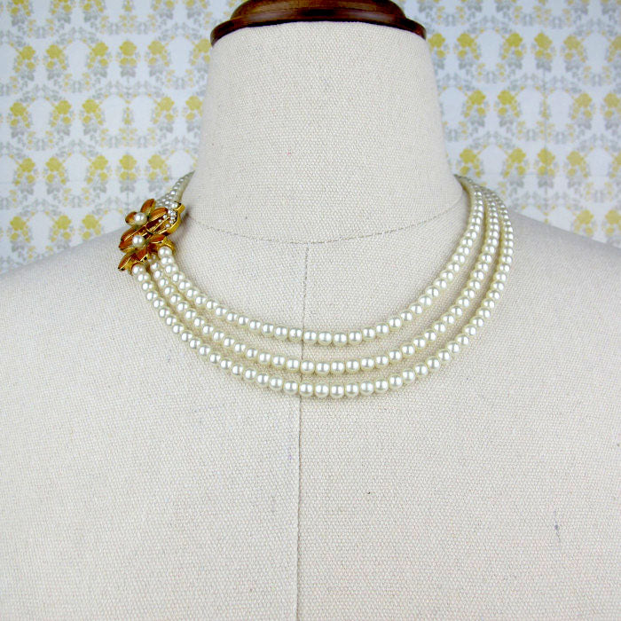 Three Strand Pearl Necklace with Floral Pendant