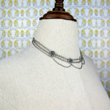 Drape Choker with Blue Floral Crystal Accents
