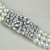 Three Row Pearl and Crystal Necklace