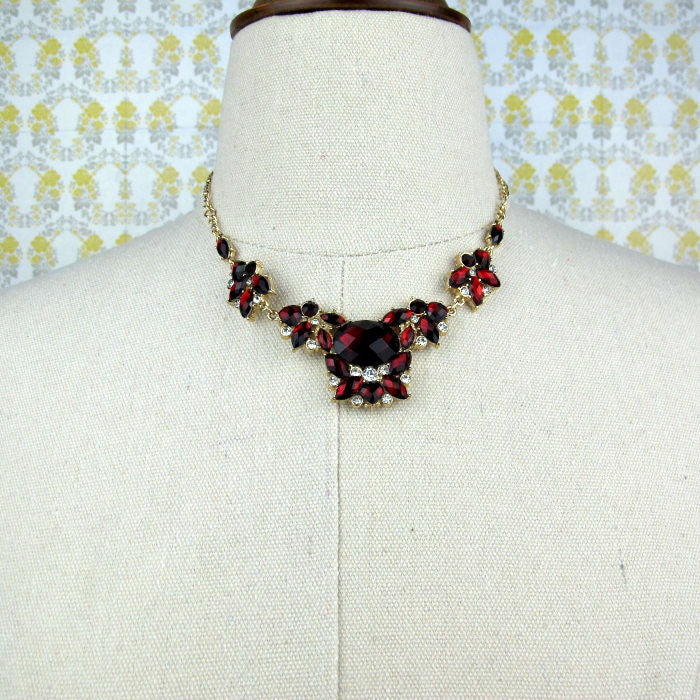 Red Crystal Cluster Necklace