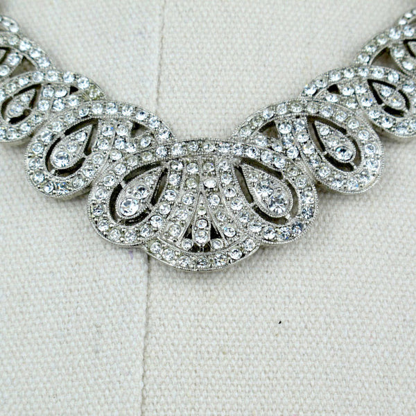 Crystal Scalloped Pave Necklace