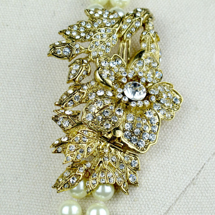 Double Strand Pearl Necklace with Swarovski Crystal Flower Brooch
