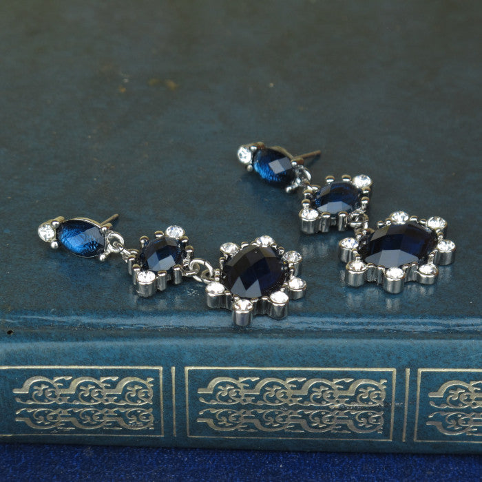 Sapphire Blue and Crystal Drop Earrings