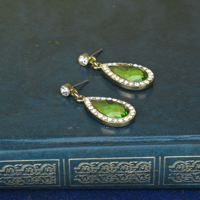 Green Crystal Teardrop Earrings