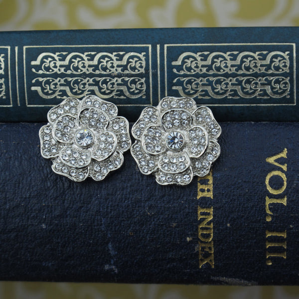 Swarovski Crystal Flower Button Earrings