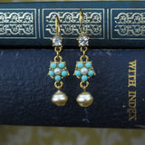 Turquoise and Pearl Drop Earrings