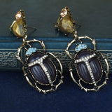 Rhinestone Scarab Earrings