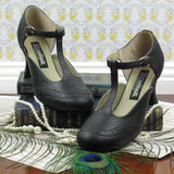 Mary Jane T-Strap Kitten Heels in Black