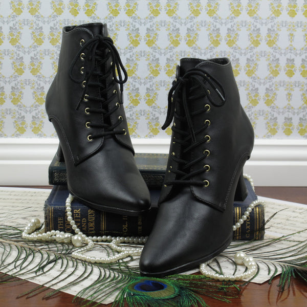 Victorian Style Low Cut Boots in Black