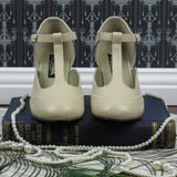Mary Jane T-Strap Kitten Heels in Cream