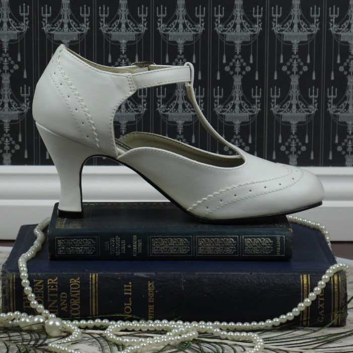 Mary Jane T-Strap Kitten Heels in White
