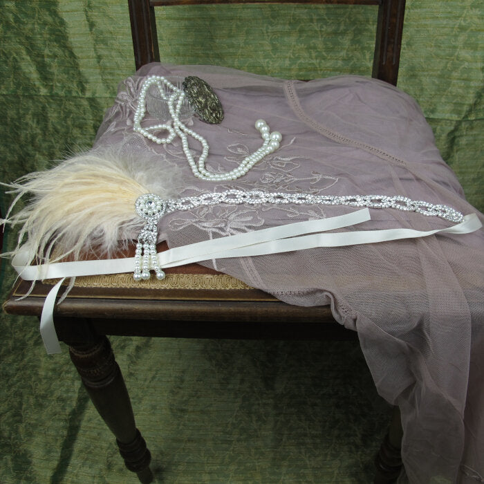 Pink Feather Crystal and Pearl Headband