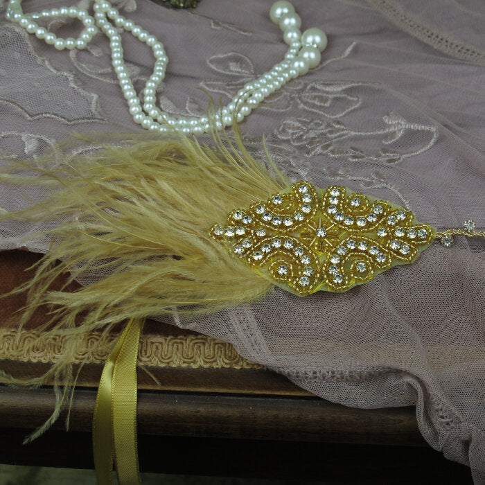 Gold Feather and Crystal Headband