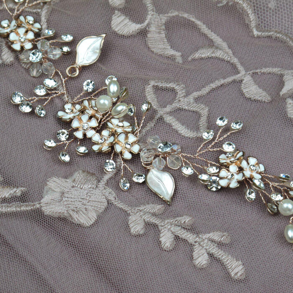 Crystal and Pearl Flower Headband