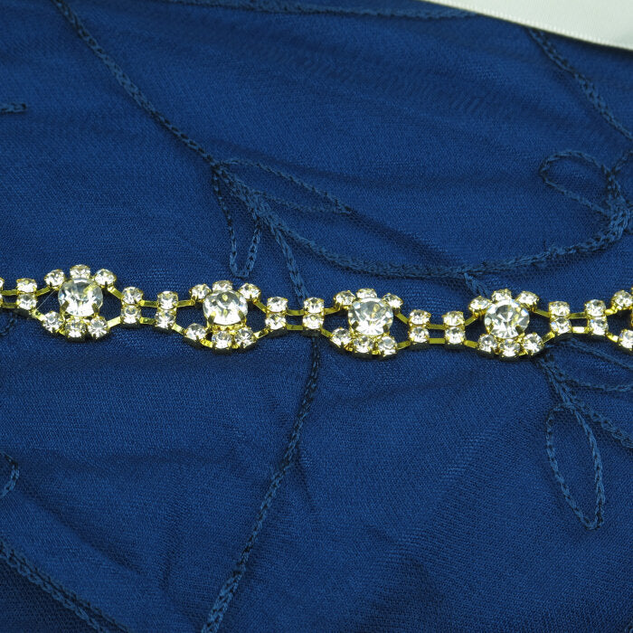 Gold-Tone Flower Crystal Headband