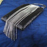 Black Evening Purse With Silver And Crystal Tassel