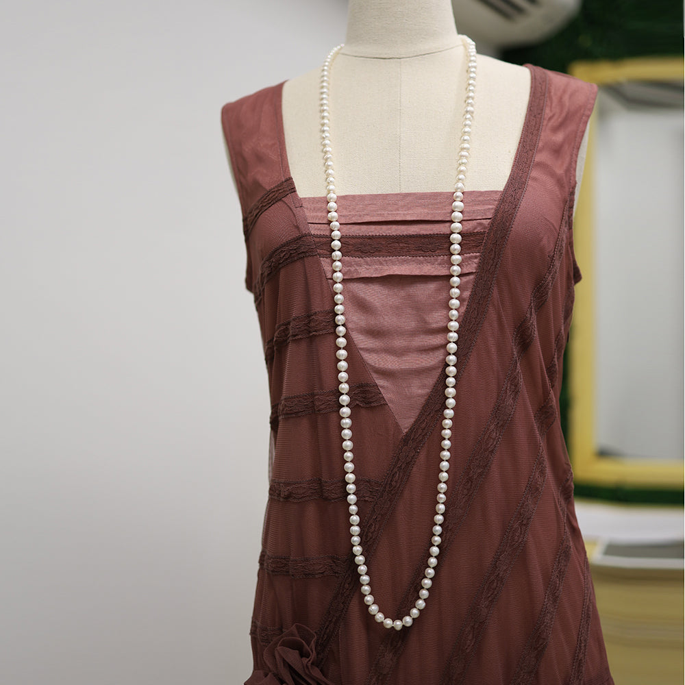 Vintage Style 128cm Natural Freshwater Pearl Necklace