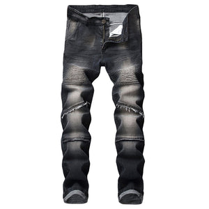 f9b1721f70ec Men's Stretchy Ripped Skinny Biker Jeans Destroyed Taped Slim Fit Denim  Pants