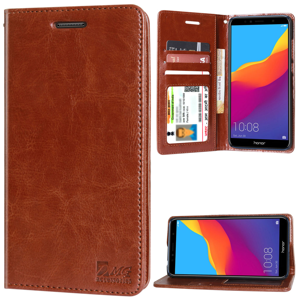 brand new e4082 5e0e8 DMG Premium Leather Wallet Flip Cover Stand Case for Huawei Honor 7A ...