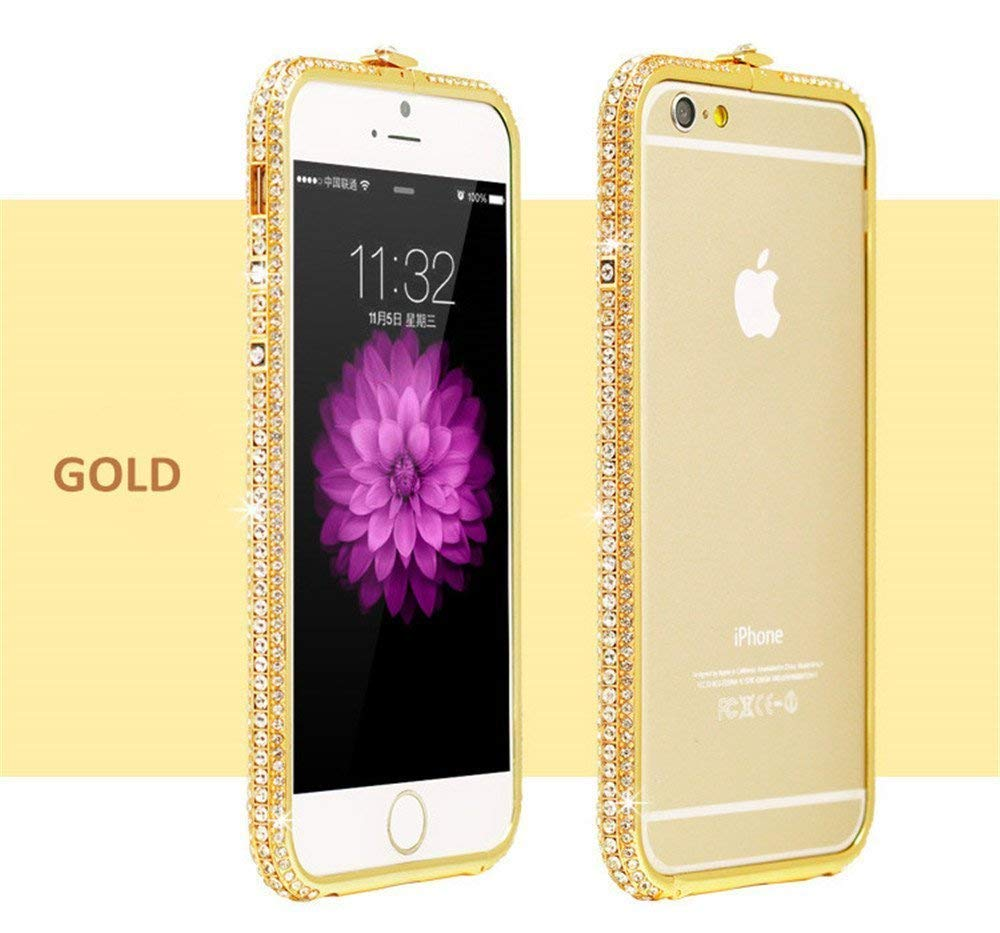 a4338f7d09 Rhinestone Encrusted Crystal Diamond Metallic Bumper Case for Apple iPhone  6s / iPhone 6