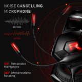 RUNMUS Gaming Headset Xbox One Headset PS4 Headset, 7.1 Surround Sound Gaming Headphone with Noise Canceling Mic & LED Light, Compatible with Xbox One Controller (Adapter Not Included) PS5 PC Laptop