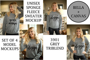 BUNDLE: Bella Canvas 3901 Grey Triblend Sponge Fleece Sweater Mockups