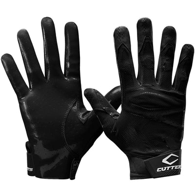 Black Rev Pro 4.0 Solid Football Receiver Gloves - Front and Back View